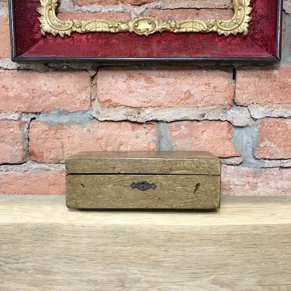 Antique wooden storage box, vintage glove box, wed