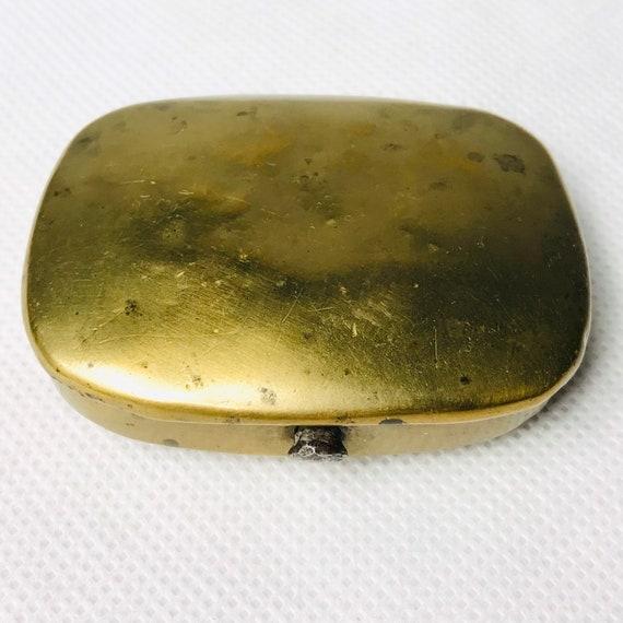 Antique brass miners snuff box, antique match case
