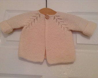 Hand knitted baby cardigan jacket cream 3 - 6 months