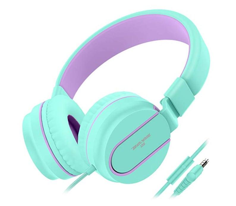 MintPurple Beso i36 Foldable Stereo Ear Headphones wMic 3.5mm Jack Wired Cord On-Ear
