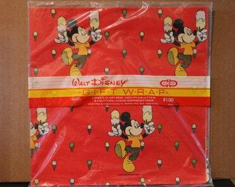 Wonderfully Vintage Walt Disney Mickey Mouse Gift Wrap by CLEO
