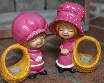 Adorable Vintage Pair of Ceramic Mini Planters - Two Blonde Groovy Girls in Magenta with Baskets