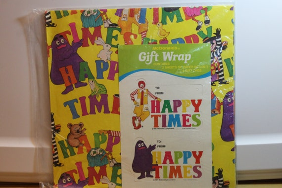 New 2 Packages McDonalds 1981 Happy Times Gift Wrap