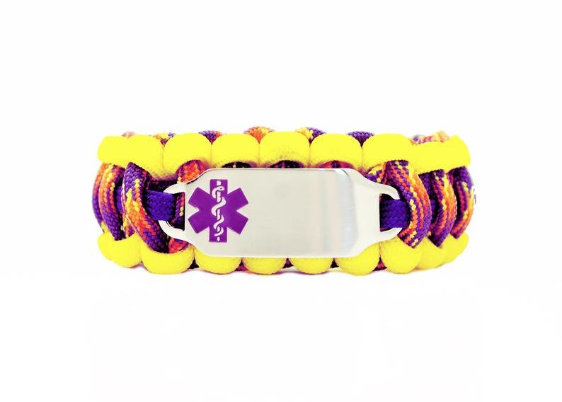 Personalized Engraved Purple Stainless Steel Medical Alert Bracelet Includes FREE Engraving Custom 550 Paracord Bracelet Medical ID