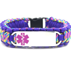 Personalized Thin Kids Medical Alert ID Paracord Bracelet w Stainless Steel Engraved ID Tag Blue Medical Symbol