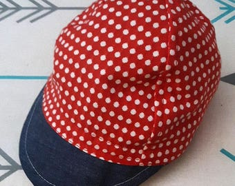Toddler Woven Red & White Cycling Cap