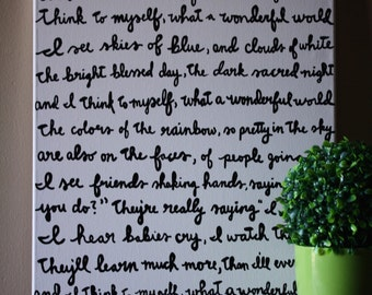 What a Wonderful World Louis Armstrong Lyric Painting 16x20