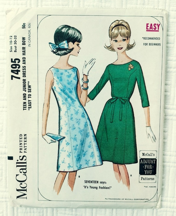 Vintage Sewing Pattern Mccalls No 7495 Size 10 12 Teen Etsy