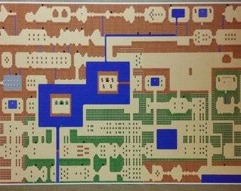 graphic regarding Printable Legend of Zelda Map titled Legend of zelda map Etsy