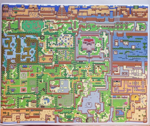 Zelda Link S Awakening 24 X 30 Poster Print Legend Of Zelda Game Boy High Detail World Map Nintendo Video Game Rpg