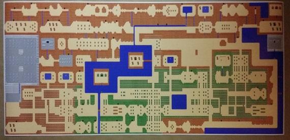 Zelda Gigantic 50 X 24 Poster Print Legend Of Zelda Classic Nes High Detail World Map Nintendo Video Game Rpg