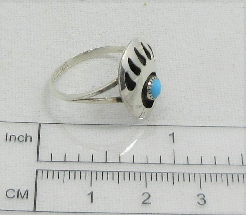 Native American Vintage Jewelry Midi Ring Sterling Silver Boho Ring Turquoise Stackable Ring Southwest Ring Bear Paw Ring Size 7 34