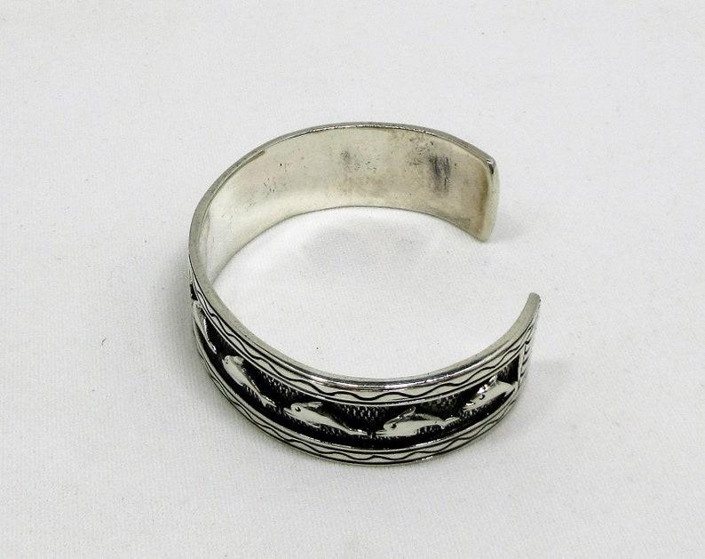 Beach Wear Dolphin Bracelet Handmade Bracelet Cuff Bracelet 39 Grams Vintage Jewelry Sterling Silver Ocean Stamped Swim #290 Waves