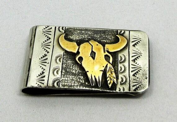 Money Clip, Gold Filled, Skull, Signed, Stamped, S