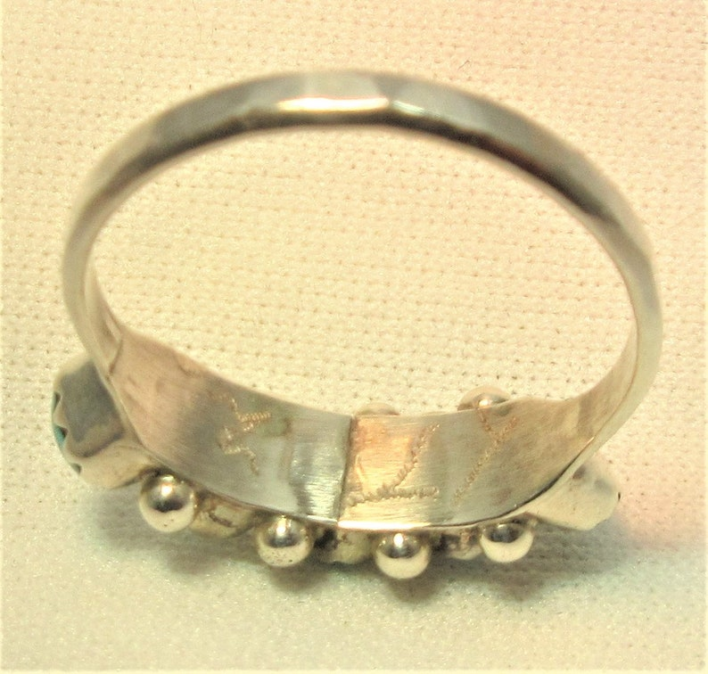 Tribal #647 Vintage Jewelry Native American Signed Sterling Silver Zuni Handmade Ring Turquoise Ring Size 7 December Birthstone