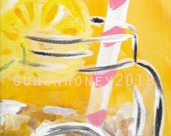 Sweet Tea and Southern Sunshine Fine Art Print by gunsnhoney 4x12 inch from Original Acrylic Pop Art Painting FREE SHIPPING