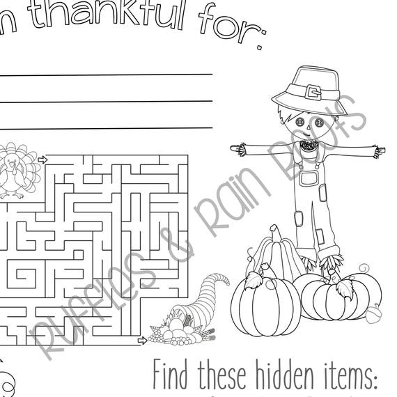 graphic about Printable Placemat titled Thanksgiving Printable Little ones, Placemat, Getaway Coloring and Sport Web page, Thanksgiving Printable Match