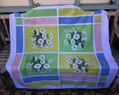 Vintage Blue and Turquoise Square Tablecloth - 1950 39 s