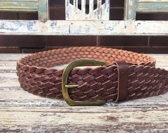 Vintage green caramel and brown plaited serpent leather belt