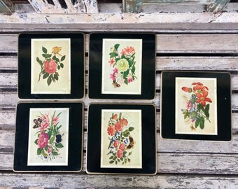 5 Vintage 1960s Pimpernell drink coasters rustic rural ladies scenes acrylic cork backed boxed set table protectors