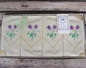 4 Vintage Irish with Violets Napkins - Hand Embroidered - 1950's -4 Vintage Linen Serviettes - Vintage Wedding - Vintage Linen  - New in Box