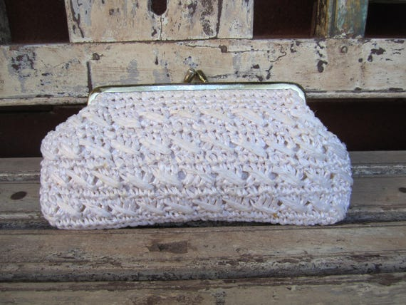 f6f220a5fb8 Vintage Cream Crochet Raffia Clutch Bag - Bride Bag - Bride Purse - Bride  Clutch - Something old - Off White