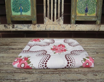 Vintage Pink, Green and Brown Floral Sheet - Double size - 1970's
