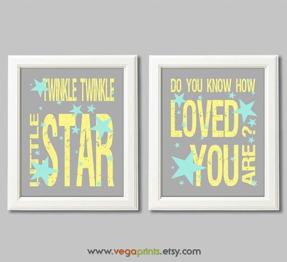 Yellow aqua and grey twinkle twinkle little star wall art | Etsy