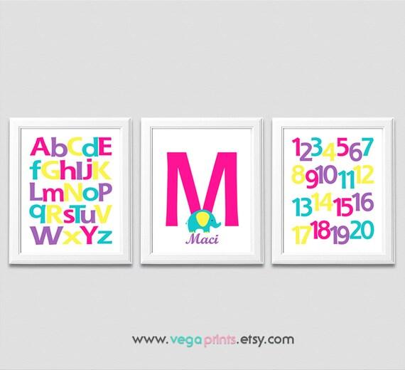 Alfabeto y números bebé niña arte de la pared impresión sin | Etsy
