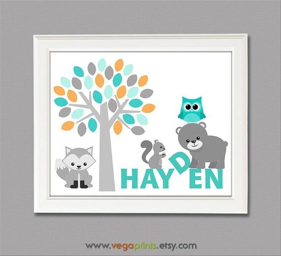 Baby boy name art print - UNFRAMED- baby boy wall art, toodler wall art,  Hayden, name artwork, fox, bear, owl, tree, aqua, teal, grey
