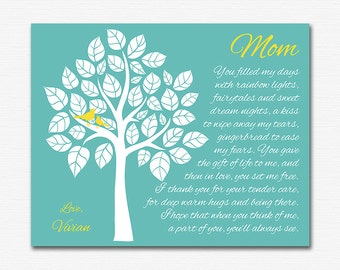 Gift for mother, art print - 8x10 UNFRAMED - personalized mother gift print, custom colors, gift for mom, mommy, mother's day, names, tree