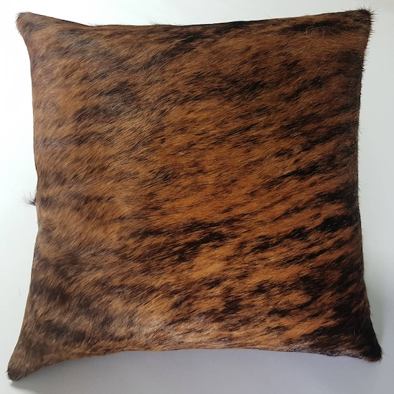 Brindle Cowhide Pillow Cover Hide Cushions Skin Leather Etsy