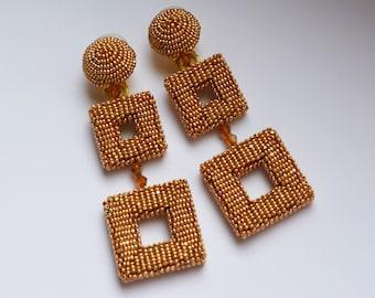 Double square earrings. Gold-tone beaded clip earrings. Earrings in the style of Oscar De La Renta. Handmade.