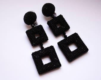 Double square earrings. Black-tone beaded clip earrings. Earrings in the style of Oscar De La Renta. Handmade.
