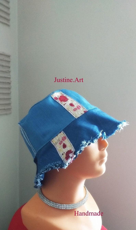 Denim cap made of old denim     bucket hat