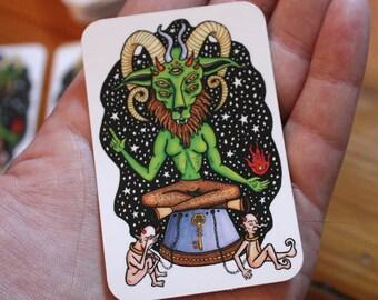 The Devil Tarot Sticker | Baphomet | Satan Stickers | Tarot Cards | Gothic Occult | Witchcraft Vinyl Stickers