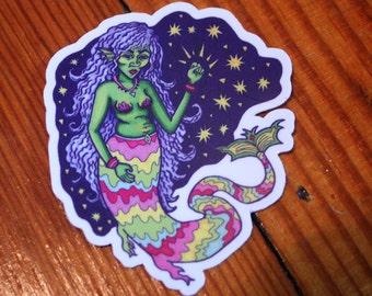 Psychedelic Rainbow Mermaid Art Sticker | Aesthetic Vinyl Stickers for Laptop, Phone