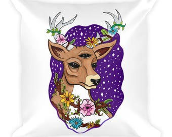 Floral Antler Pillow, Deer Pillow, Square Pillow, Decorative Pillows, Aesthetic, Stag Pillow, Tumblr, Floral Deer, Decorative Couch Pillows,