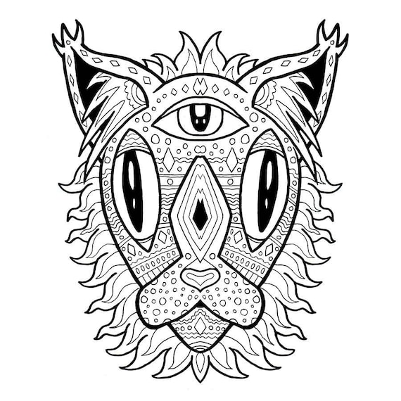 Mandala Cat Coloring Page, Adult Coloring, Anti Anxiety, Positive Vibes,  Stress Relief Gifts, Coloring Sheets, Digital Download, Unique Gift