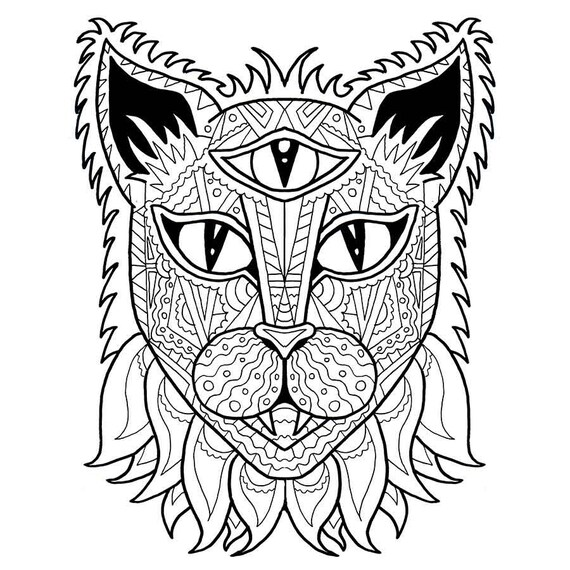 Cat Coloring Page Adult Coloring Pdf Anti Stress Coloring Etsy