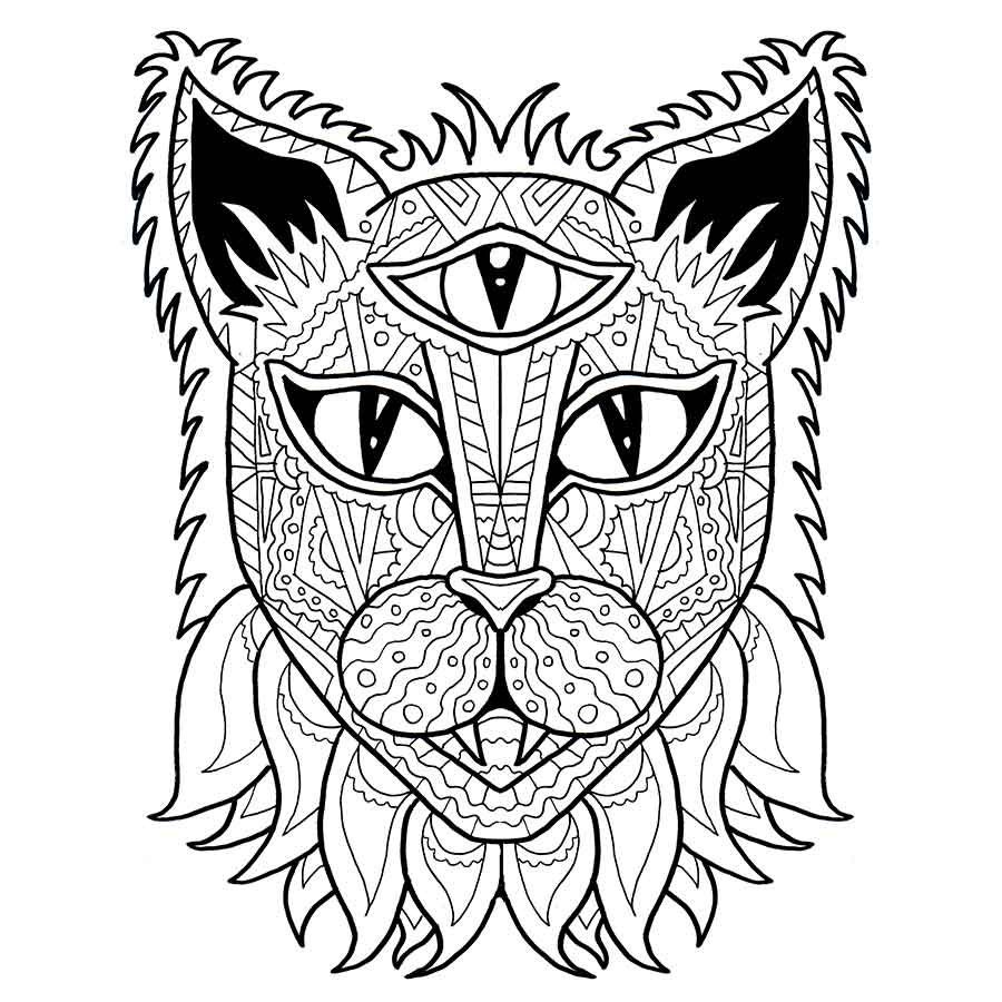 Cat Coloring Page Adult Coloring PDF Anti Stress Coloring ...