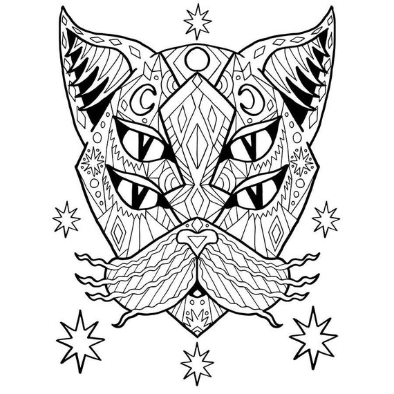adult coloring pdf cat coloring page good vibes only stress etsy. Black Bedroom Furniture Sets. Home Design Ideas