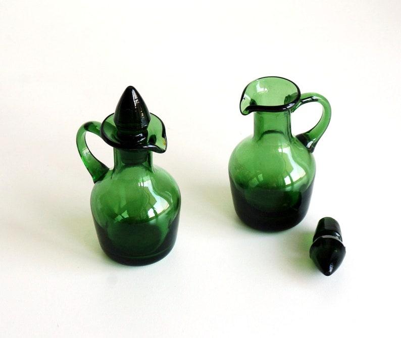 Blown glass Oil and Vinegar ampoules, Italian green glass vintage cruet
