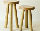NEW 3 Leg Wooden Stool Stained- 2 Sizes Available