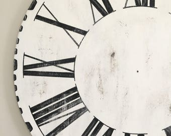 48 OVERSIZED Joanna Gaines Farmhouse Style Wooden Clock Dial Only Black White Roman Numeral