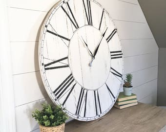 """33inch,36 inch """"Mary"""" Wood Clock Rustic Farmhouse Style Wooden Pallet Clock"""