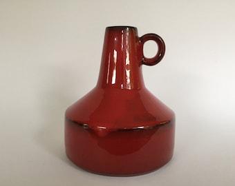 RESERVED for J.  Mid Century Modernist Studio red ceramic vase  1970s , unknown maker,  West Germany .  WGP.