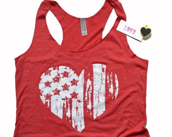 American Flag Heart Tank Top, Merica Shirt, Fourth of July.  Womens Racerback, Exercise Gym Tank, Star Spangled top, Independence Day