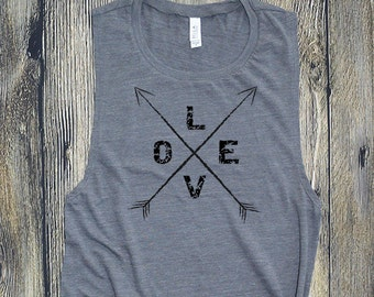 Muscle Tee, Love Arrows Workout Tank, Gym shirt, Yoga, Workout shirt, funny tank