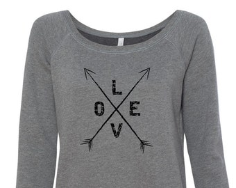 Love With Arrows  Slouchy Sweatshirt.   Off the Shoulder